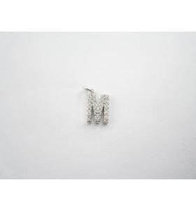 iniziale lettera M foro passante in argento 925 ciondolo charms
