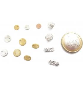 connettore 2 fori tondino in argento 925 placcato oro rosa di 6 mm 4 pz