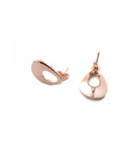 2 basi x orecchini in zama lucido placcato oro rosa di 16 x 12 mm