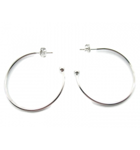 1 Paio di orecchini cerchio 3/4 rodiati chiusura farfallina di 35 mm