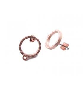 1 Coppia di orecchini base in zama rosa ramato satinato tondi vuoti linea pop