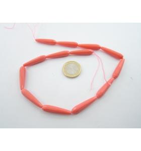 1 filo di gocce in corallo rosa in pasta sfacettata 30x7 mm lungo 39 cm