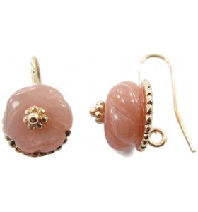 Coppia monachelle con pietre in lepidolite scolpita su  placcato oro rosa