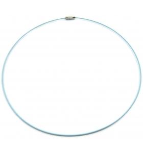 2 girocollo cavetto acciaio azzurro rivestito 1,1 mm chiusura a vite lung 46 cm