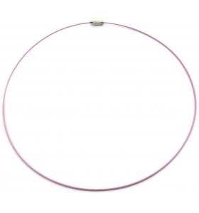 2 girocollo cavetto acciaio lilla rivestito 1,1 mm chiusura a vite lung 46 cm