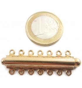 chiusura argento 925 ad innesto placcato oro giallo per 7 fili di 42x13 mm italy
