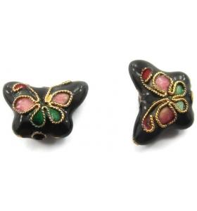 2 farfalle smaltate nere in tecnica cloisonnè di 14x5 mm foro passante 1,2 mm