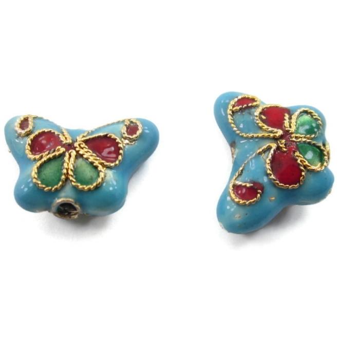 2 farfalle smaltate azzurre in tecnica cloisonnè di 14x5 mm foro passante 1,2 mm