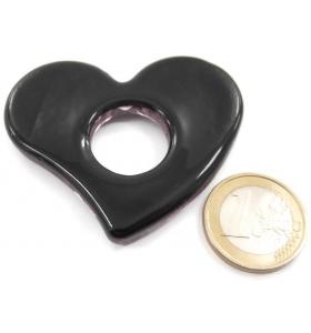 1 ciondolo o centrale a cuore in vetro viola con sfumature dorate 6x5 cm.