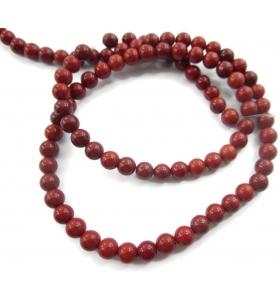 1 filo in diaspro rosso naturale cabochon di 4,5 mm lungo 38 cm
