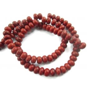 1 filo in diaspro rosso naturale rondelline di 6,5 x 4,5 mm mm lungo 39 cm