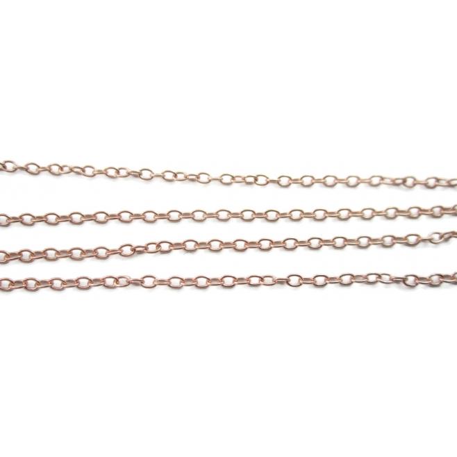 10 cm catena ovaline tonde argento 925 placcato oro rosa di 2 x 1,5 mm  made in italy