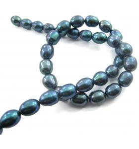 1 filo di perle scaramazze grigio di 10x9 mm lungo 38 cm