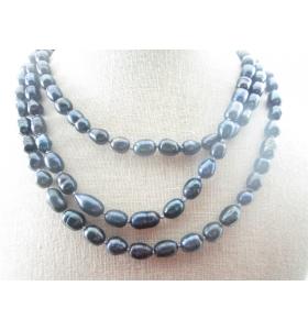 collana di perle grigio scuro scaramazze annodate senza chiusura lunga 59 cm