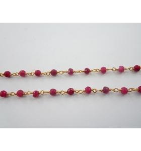 50 cm catena rosario tono oro e giada fucsia naturale