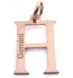 Ciondolo charms segno zodiacale GEMELLI argento 925 placcato oro rosa made in italy