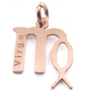 Ciondolo charms segno zodiacale VERGINE argento 925 placcato oro rosa made in italy