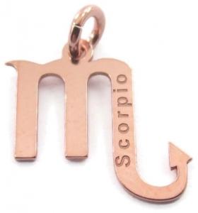 Ciondolo charms segno zodiacale SCORPIONE argento 925 placcato oro rosa made in italy