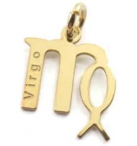 Ciondolo charms segno zodiacale VERGINE argento 925 placcato oro GIALLO made in italy