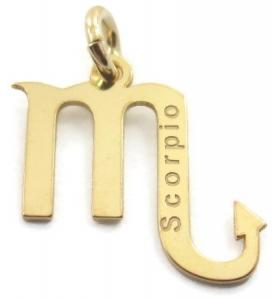 Ciondolo charms segno zodiacale SCORPIONE argento 925 placcato oro GIALLO made in italy