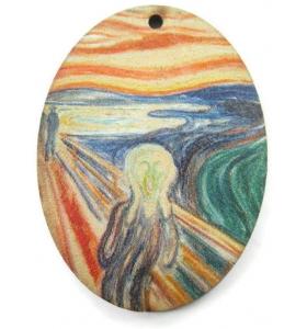 1 pendente in legno serie art l'urlo di MUNCH 1 foro misure 38x28