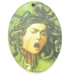 1 pendente in legno serie art medusa CARAVAGGIO 1 foro misure 38x28