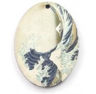 1 pendente in legno serie art La grande onda di Kanagawa 1 foro misure 38x28