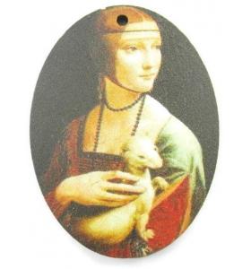1 pendente in legno serie art Dama con l'ermellino 1 foro misure 38x28