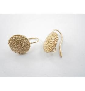1 paio di orecchino bottone  puntinati a sbalzo in argento 925 placcato oro rosa di 14  mm