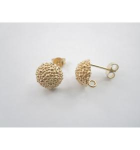1 paio di perni  puntinati in argento 925 placcato oro giallo tipo bottone sardo