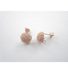 1 paio di perni  puntinati in argento 925 placcato oro rosa tipo bottone sardo