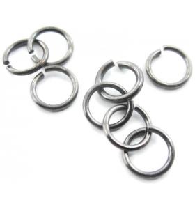 6 anellini aperti di 4 mm in argento 925 brunito