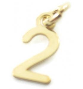 Ciondolo charms numero 2 argento 925  placcato oro giallo di 10x5 mmmade in italy