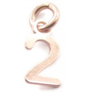 Ciondolo charms numero 2 argento 925  placcato oro rosa di 10x5 mmmade in italy