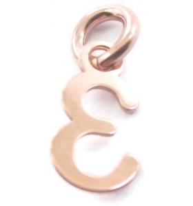 Ciondolo charms numero 3 argento 925  placcato oro rosa di 10x5 mmmade in italy
