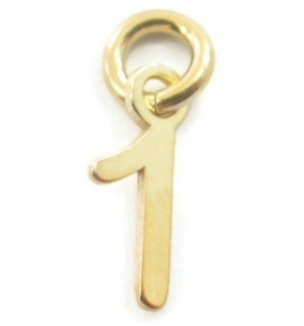 Ciondolo charms numero 1 argento 925  placcato oro giallo di 10x5 mm made in italy