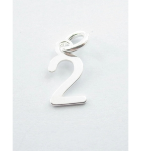 Ciondolo charms numero 2 argento 925   di 10x5 mm made in italy