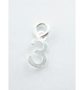 Ciondolo charms numero 3 argento 925   di 10x5 mm made in italy