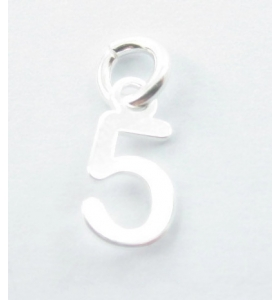 Ciondolo charms numero 5 argento 925   di 10x5 mm made in italy