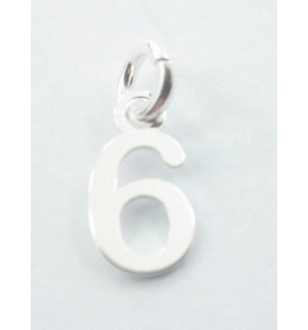 Ciondolo charms numero 6 argento 925   di 10x5 mm made in italy