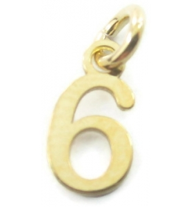 Ciondolo charms numero 6 argento 925 placcato oro giallo  di 10x5 mm made in italy