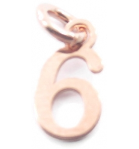 Ciondolo charms numero 6 argento 925 placcato oro rosa  di 10x5 mm made in italy