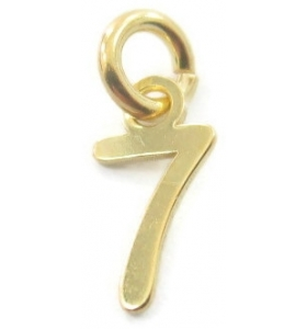 Ciondolo charms numero 7 argento 925 placcato oro giallo  di 10x5 mm made in italy