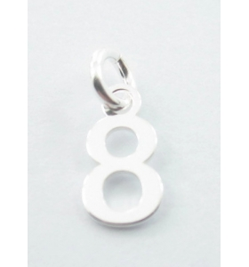 Ciondolo charms numero 8 argento 925   di 10x5 mm made in italy