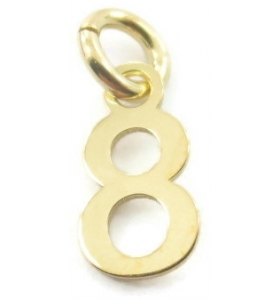 Ciondolo charms numero 8 argento 925 placcato oro giallo  di 10x5 mm made in italy