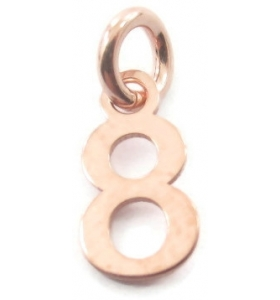 Ciondolo charms numero 8 argento 925 placcato oro rosa  di 10x5 mm made in italy