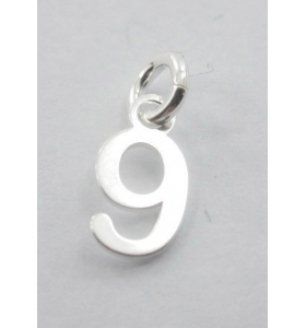 Ciondolo charms numero 9 argento 925   di 10x5 mm made in italy
