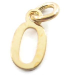 Ciondolo charms numero 0 argento 925 placcato oro giallo  di 10x5 mm made in italy
