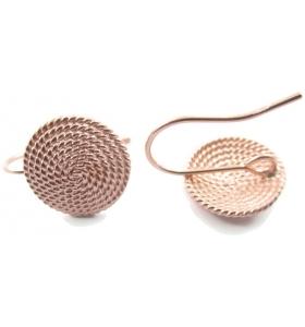1 paio di basi orecchino la corbula sarda in filigrana d'argento 925 placcato oro rosa