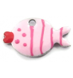 1 Ciondolo charms pesce smaltato rosa argento 925  di14,5x8,5 mm